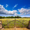 Menorca traditional wooden gate in spring at balearic islands of spain Stock Photography