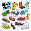 Mens Fashion Doodle. Male Footwear Stickers, Badges and Patches with Sneakers, Boots and Shoes