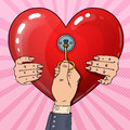 Mens Hand with Key from Womans Heart. Marriage Proposal. Pop Art retro illustration