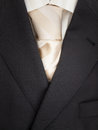 Mens jacket shirt and tie detail of pinstripe suit with light cream coloured striped Royalty Free Stock Images