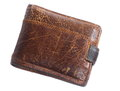 Mens leather brown wallet isolated on white Royalty Free Stock Photo