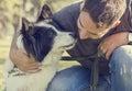 Mens met zijn hond