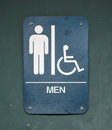 Mens room a blue sign with a handicapped symbol Stock Images