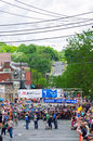 Mens stillwater criterium start june pro cyclists line up for of stage six of north star grand prix in minnesota nearly top pro Stock Images