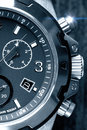 Mens watch close up chunky in black and white Royalty Free Stock Photo