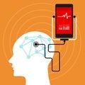 Mental brain health monitoring mobile phone vector illustration Royalty Free Stock Photos