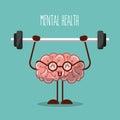 Mental health brain lifting weights image Royalty Free Stock Photo