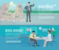 Mental health flat banners set anxiety disorder breakthrough with psychiatrist counseling horizontal abstract vector illustration Royalty Free Stock Images