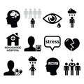 Mental health icons depression addiction loneliness concept vector set isolated on white Stock Image