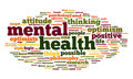 Mental health in word tag cloud concept on white Royalty Free Stock Image