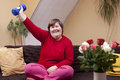 Mentally disabled woman shows her strength with a dumbbell Stock Photography