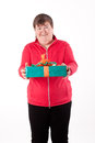 Mentally disabled women gets or give a gift Royalty Free Stock Images