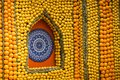 Menton Lemon Festival 2018, Bollywood Theme art made of lemons and oranges, mandala close-up