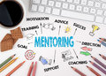 Mentoring concept. White office desk Royalty Free Stock Photo