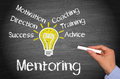 Mentoring chalkboard with light bulb and text Royalty Free Stock Photo