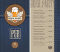 Menu for a beer Royalty Free Stock Photo