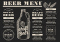 Menu beer restaurant alcohol template placemat food brochure design vintage creative flyer with hand drawn graphic Stock Images