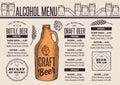 Menu beer restaurant, alcohol template placemat.