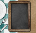 Menu blackboard lying on table top view Royalty Free Stock Images