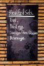 Menu breakfast blackboard on wall Royalty Free Stock Photography