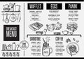 Menu breakfast restaurant, food template placemat. Royalty Free Stock Photo