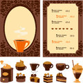 Menu for cafe with collection dessert and drinks Stock Photography