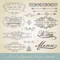 Menu calligraphic design element set of vector Royalty Free Stock Images