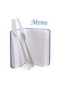 Menu card book with fork and knife Royalty Free Stock Images
