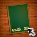 Menu card on brick wall