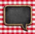 Menu chalkboard speech bubble on picnic tablecloth Royalty Free Stock Photo