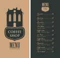 Menu for coffee shop with old house and price