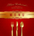 Menu cover with golden cutlery and decorative elements Royalty Free Stock Photo