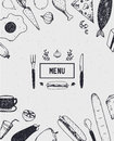 Menu cover with hand drawn food. Black and white. Royalty Free Stock Photo