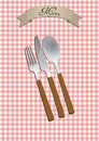 Menu cutlery illustration of with text on ribbon Stock Photography