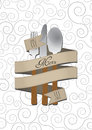 Menu cutlery illustration of with text on ribbon Royalty Free Stock Image