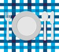 Menu design with cutlery on blue tablecloth eps Royalty Free Stock Image