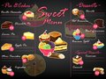 Menu dessert vector sweet food template chocolate cupcake and ice cream on restaurant poster illustration set of muffin