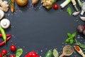 Menu food culinary frame concept on black background