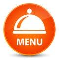 Menu (food dish icon) elegant orange round button