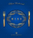Menu with golden cutlery and ornate decor elements Royalty Free Stock Photography