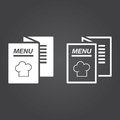 Menu icon. Solid and Outline Versions. White icons on a dark bac