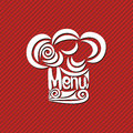 Menu illustration red background white Stock Photo