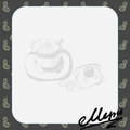 menu layout for the cafe with a picture of a cup of coffee and toast with scrambled eggs, text Royalty Free Stock Photo