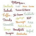 Menu lettering set. Desserts, starters, drinks, breakfasts, cocktails and other words collection. Vector calligraphy