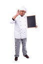 Menu male chef with black board isolated on white background Stock Image