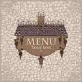 Menu with the old roof banner for lantern and grapes on a stone wall background Royalty Free Stock Images