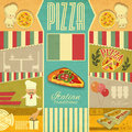 Menu for pizzeria vintage card set of pizza cards in retro style illustration Stock Photo