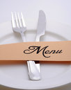 Menu plate with fork and knife Stock Photography