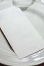 Menu on the plate page dinner table setup Stock Images