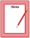 Menu, Red Gingham Stock Image
